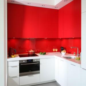 Dzięki czerwonym frontom szafek niewielka przestrzeń kuchenna staje się bardziej widoczna na tle całego mieszkania. Projekt: Iza Szewc, fot. Bartosz Jarosz.