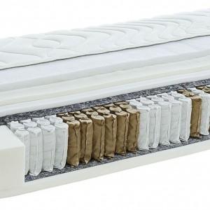 Materac Dreamzone to materac sprężynowy, wielokieszeniowy. Posiada 7 stref komfortu, poszycie wykonane z wiskozy i polipropylenu. Fot.Jysk.
