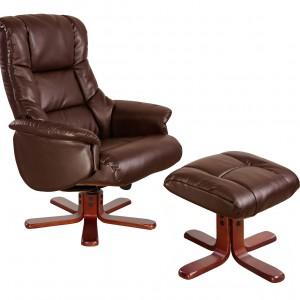 Wygodny skórzany fotel z podnóżkiem. Fot. Debenhams.