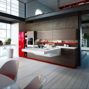 Zabudowa kuchenna Board w kolorze czekoladowego brązu, którą ładnie ożywia kolor czerwony, zastosowany tu jednak w dodatkach. Wykończono nim tylko niektóre elementy. Wycena indywidualna, Snaidero.
