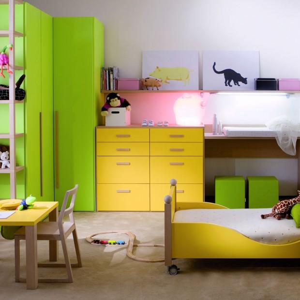 Zielony pokój dziecka. Dla chłopczyka i dziewczynki