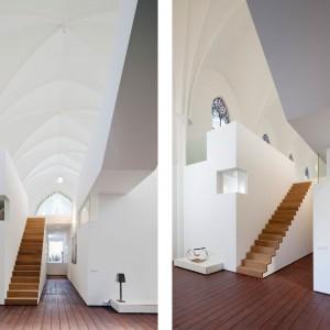 Minimalistyczne schody z drewnianymi stopniami prowadzą na wyższą kondygnację. Fot. Frank Hanswijk.