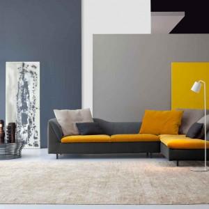 """Trend """"Żółty+szary"""".Szaro-żółta sofa Sinua. Fot. Bonaldo."""