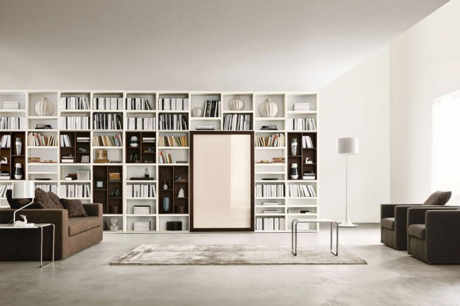 Nowoczesna biblioteka w domowa biblioteka stw rz j for Biblioteczka w salonie