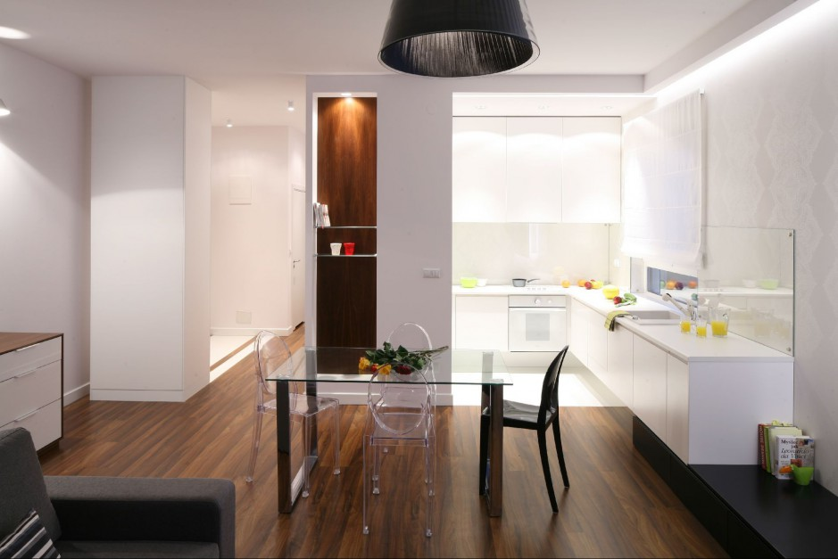 Proj wnętrza arch  Minimalistyczne wnętrza -> Otwarta Kuchnia Male Mieszkanie