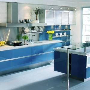 Meble kuchenne z kolekcji Boston w kolorze niebieskim. Wycena indywidualna, Mebel Rust.