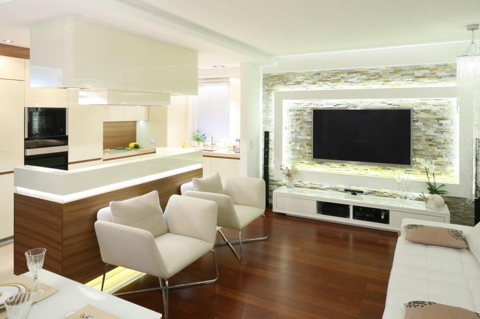 Strefa dzienna ma charakter Kuchnia dla rodziny ciepła, jasna, elegancka -> Kuchnia Z Jadalnią I Salonem W Bloku