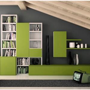 Zielona meblościanka z kolekcji Librerie Soggiorni marki Dielle. Fot. Dielle.