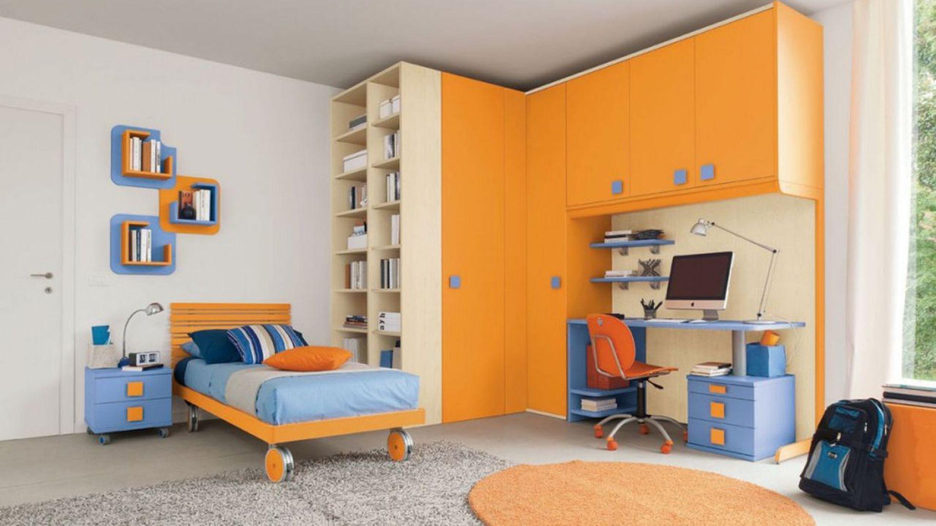 niebiesko pomara czowy pomara czowy pok j dziecka aran acje dla dziewczynki i ch opca. Black Bedroom Furniture Sets. Home Design Ideas
