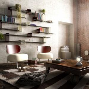 Ściana z cegły podkreśla industrialny charakter salonu. Fot. Matteo Gerbi.