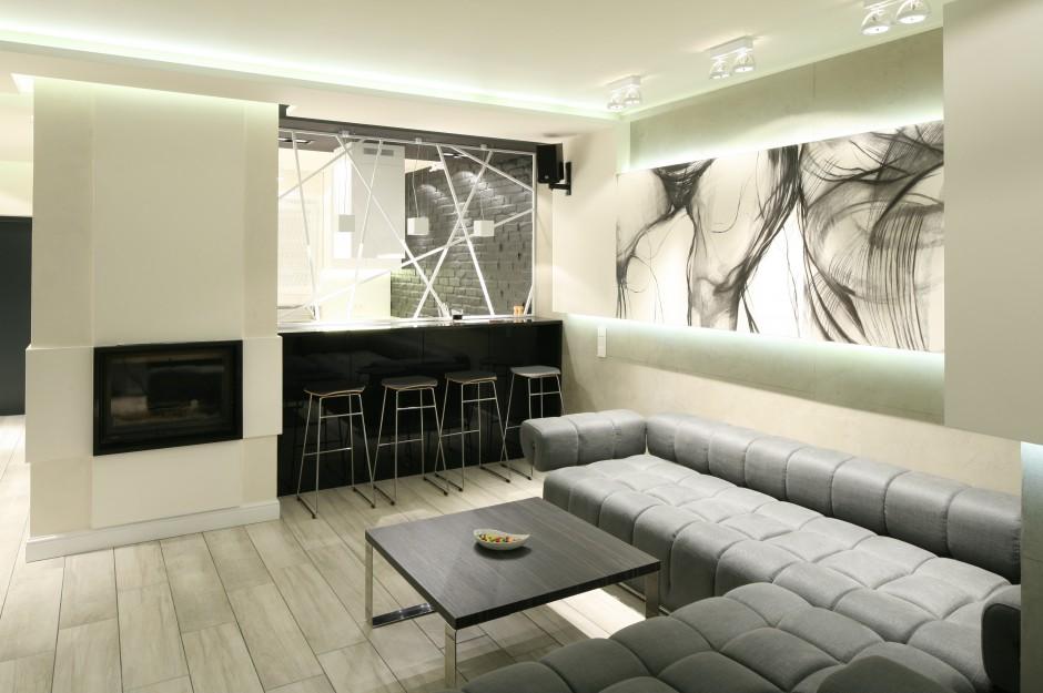Barek od strony salonu Czarno biała kuchnia   -> Biala Kuchnia Elegancka
