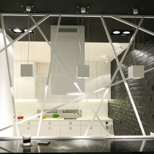 Lekkie, ażurowe przepierzenie stanowi oryginalny element dekoracyjny, który doskonale wpisuje się w charakter wnętrza. Projekt: Dominik Respondek. Fot. Bartosz Jarosz.