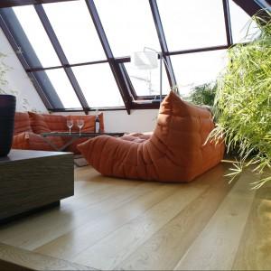 Ogród zimowy znajduje się na ostatnim piętrze dwupoziomowego apartamentu, którego wnętrza zaprojektowali Alina Grzybowska i Konstanty Jerzewski z Galerii Wnętrza. Został pomyślany jako część sypialni. Podniesiona podłoga sprawia, że lepszy jest widok z okna, pomaga też ukryć donice na bambusy karłowate i mandarynkę. Za zasłonką Torda Boontje schowana jest siłownia. Fot. Bartosz Jarosz.