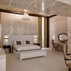 Drewniane łóżko PLISSE', którego tapicerowany zagłówek o harmonijkowej strukturze dostępny jest do wyboru w skórze bądź aksamicie. Fot. Reflex