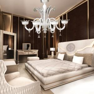 Łoże z kolekcji mebli dedykowanych do sypialni Numero Tre zaprojektował Roberto Serio. Jego charakterystycznym elementem jest umieszczony w centralnym punkcie wezgłowia symbol nieskończoności. Fot. Turri