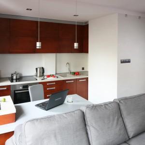 W małej kuchni większość wyposażenia umieszczono w ciągu przy ścianie. Półwysep wyznacza jej granicę, jest stolikiem i miejscem pracy. Projekt: Katarzyna Karpińska-Piechowska. Fot. Bartosz Jarosz.
