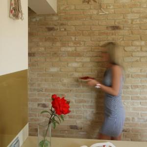 Ceglana ściana jest ozdobą kuchni. Fot. Bartosz Jarosz.