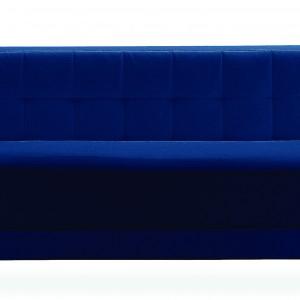 Alfa to tapicerowane łóżko w odcieniu głębokiej ultramaryny na nóżkach, których wysokość można regulować.  Fot. Zanotta