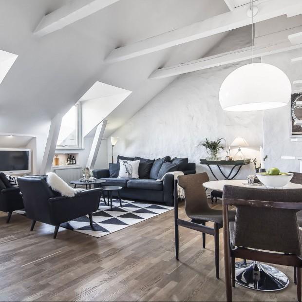 Na poddaszu w skandynawskim stylu: mieszkanie z duszą
