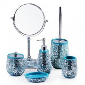 Kolekcja srebrno-turkusowych akcesoriów łazienkowych Cullet. Fot. Home&You.