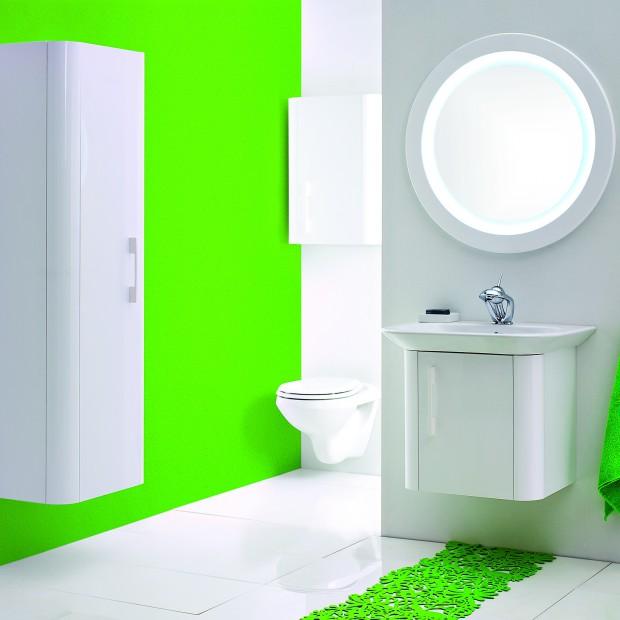 Zaskakująca zieleń.  Zobacz łazienki w modnym kolorze