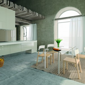 Kuchnia z kolekcji 36e8 Top Pietra to propozycja od firmy Lago Cucine. Wnętrze ma charakter otwarty. Przy kuchni znajduje się jadalni. Meble mają ciekawy, nietypowy kształt. Wyglądają tak jakby zostały niezawieszone nad podłogą. Nadają przestrzeni fajny, nowoczesny klimat.