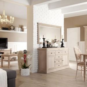 Prowansja - kolekcję wyróżnia prostota, czystość i naturalna harmonia, okleina naturalna dostępna w trzech wybarwieniach: dąb bielony, orzech 5, orzech złoty. Fot. Fameg.
