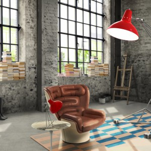 Czerwona lampa Diana w ustawiona w nowoczesnym salonie na pewno będzie przykuwać spojrzenia gości. Fot. Delightfull.