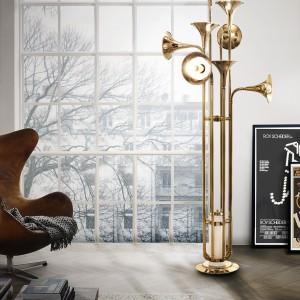 Oryginalna lampa Botti bazująca na kształcie saksofonu. Fot. Delightfull.