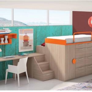 Meble idealne do wąskiego pomieszczenia. W jednej linii znajduje się biurko, szafa oraz łóżko. Fot. Muebles Lara.