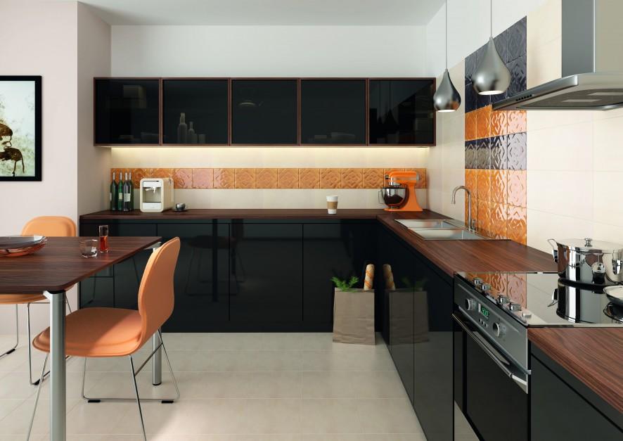 Ścianę nad blatem kuchennym Kuchnia z odrobiną pomarańczy Zobacz najcie