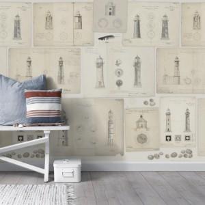 Tapeta z rysunkami, szkicami, projektami latarni morskich. Kolekcja Marstrand - Swedish Lighthouses. Fot.Mr Perswall.