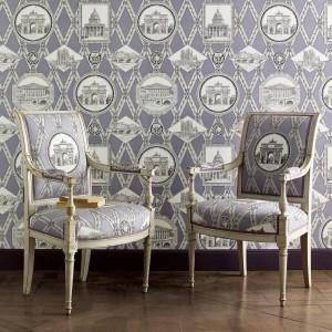 Tapeta i tapicerka inspirowana dawnym stylem. Kolekcja Manuel Canovas. Fot. Colefax and Fovler.