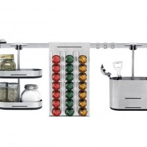 Kitchen Today marki Brabantia to elastyczny system ścienny, dzięki któremu indywidualnie zagospodarujesz ścianę nad blatem. Fot. Brabantia.