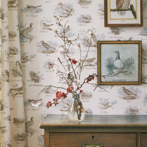 Tapeta Bewick Birds w stylu retro. Fot. Lewis&Wood.