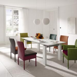 Meble do jadalni luksusowej niemieckiej firmy Accente. Rozsuwany stół Signo jest wyposażony w szklany blat dostępny w czterech kolorach. Krzesła Casino, proste w formie, zostały wykonane z plecionki loom o ciekawej strukturze i splocie. Dodatkowo, każde krzesło posiada miękkie i wygodne siedzisko. Od 14.400 zł/stół, od 3.976 zł do 5.056 zł/krzesło, Willow House/Domoteka.