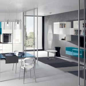 W większym pomieszczeniu salon można oddzielić od kuchni za pomocą szklanych drzwi przesuwnych. Fot. Scavolini.