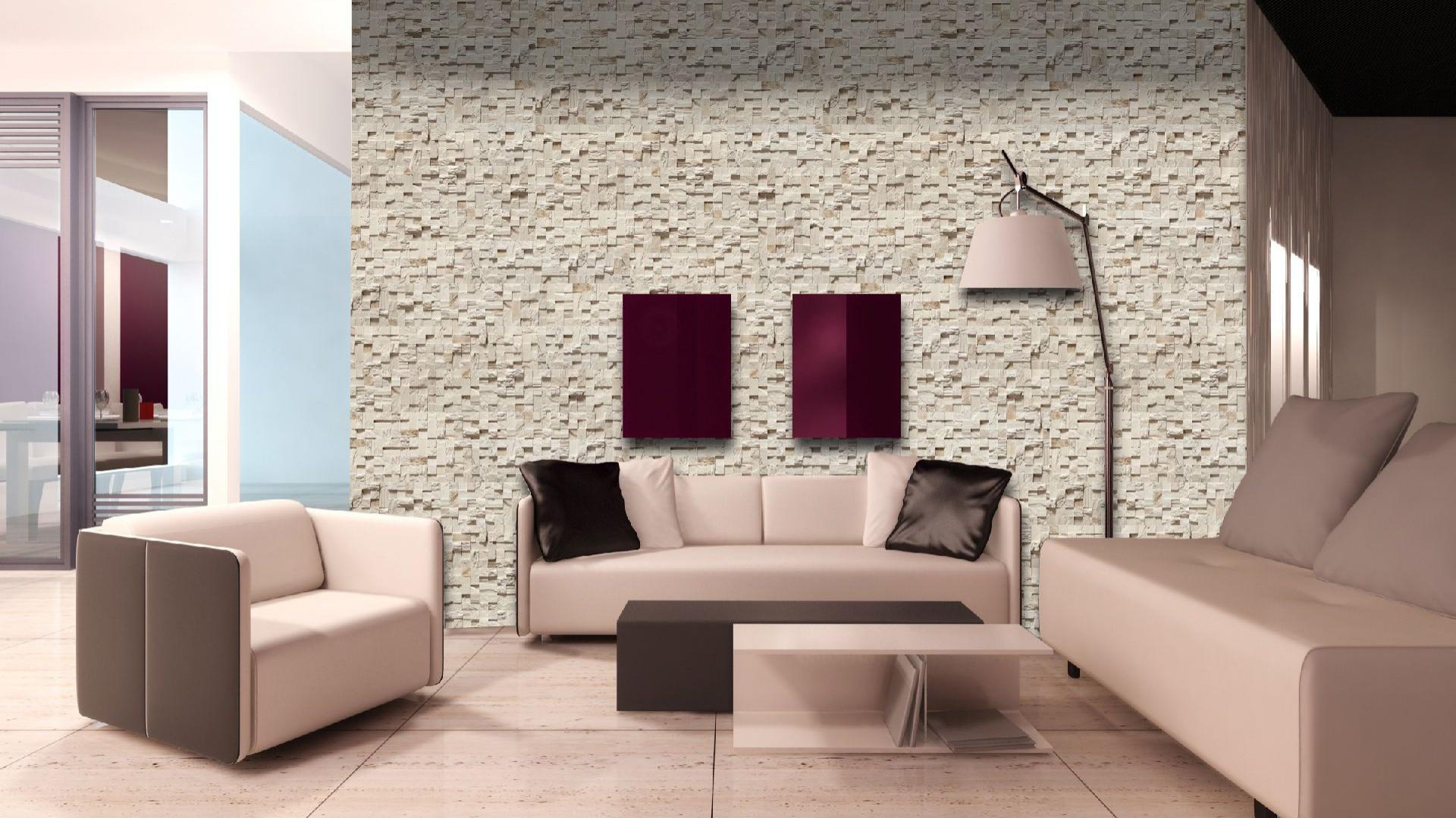 Kamień dekoracyjny Lugano nadaje się szczególnie do jasnych i dużych przestrzeni, gdzie odda na ścianie ciekawy efekt gry świetlnej i trójwymiarowości, dostępny w 3 kolorach. Wycena indywidualna, Maxstone.