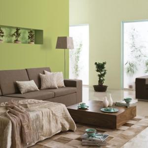 Zielony i beżowy to duet, który się sprawdzi w salonie i w sypialni. Fot. Dulux.