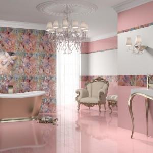 Jasnoróżowe i białe płytki łazienkowe z kolekcji Leyla marki Dualgres. Można je łączyć z niesamowitym kwiatowym dekorem, z którego wyłania się przepiękna... kobieta. Fot. Dualgres.