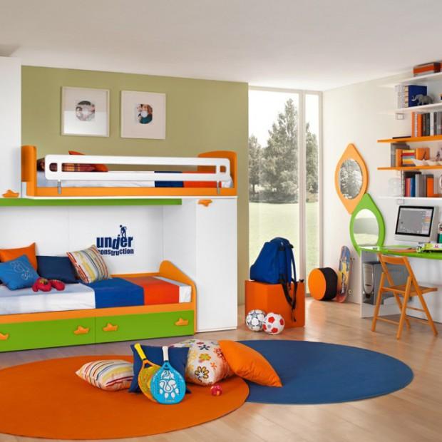 Pokój rodzeństwa z piętrowym łóżkiem. 12 ciekawych aranżacji