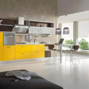 Meble do kuchni z kolekcji Numana firmy Spar. Doskonałe do małej kuchni oraz aneksu w otwartej  strefie dziennej. Tylko dolna zabudowa jest w słonecznym, żółty kolorze. Fronty szafek wiszących są stonowane, podobnie jak pozostałe elementy wnętrza.