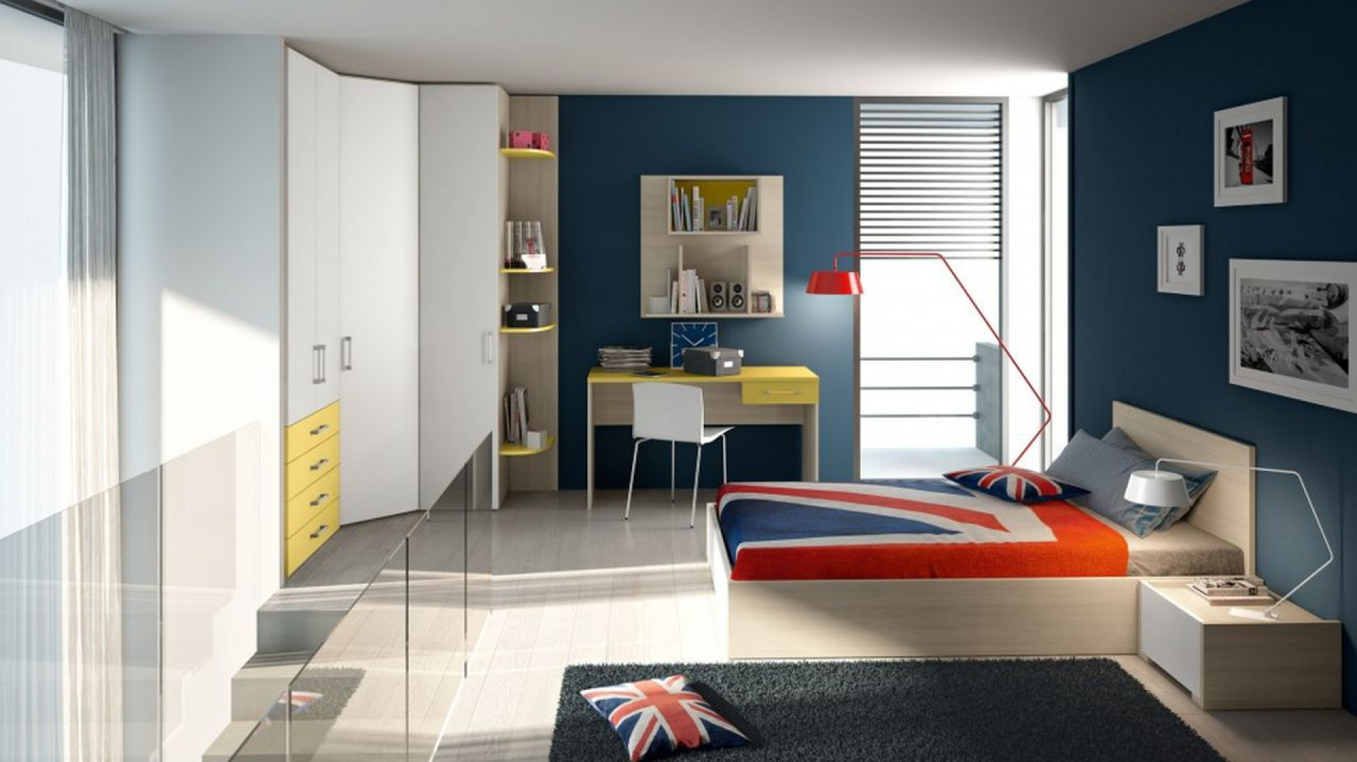 Pokój dla nastolatków z modnym motywem Jack Union. Fot. Colombini Casa.
