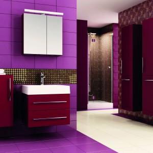 Kolekcja mebli łazienkowych Amsterdam dostępna w kolorach biały, legno ciemne, czarny, bordo, fiolet i antracyt. Fot. Aquaform.