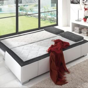 Po rozłożeniu sofa zmenia się w dwuosobowe łóżko. Fot. Matelpro.