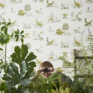 Z taką tapetą w pokoju chłopca zapanuje klimat niczym w Parku Jurakjskim. Fot. In-Spaces.