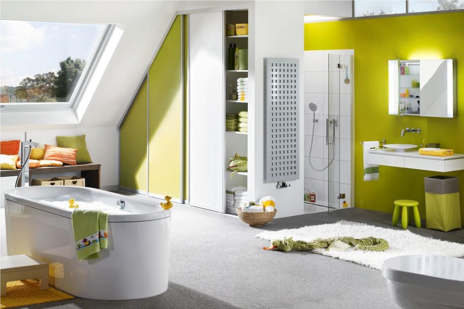 Wanna wolno stojąca Centro Duo Oval z oferty marki Kaldewei doskonale odnajdzie się w łazience dedykowanej najmłodszym mieszkańcom domu. Fot. Kaldewei.