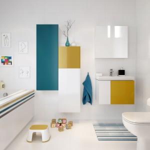 Fronty podwieszanych szafek i słupków z serii Colour można dowolnie łączyć i bez problemu wymieniać. Dostępne kolory pozwolą stworzyć przestrzeń przyjazną dziecku, a przy tym bardzo elegancką. Fot. Villeroy&Boch.