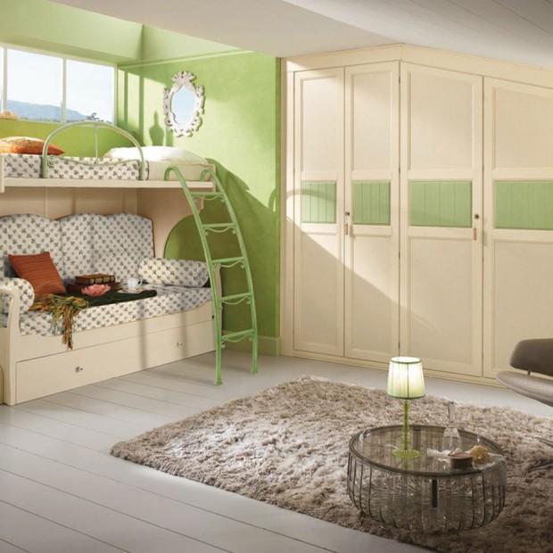 Pokój dziecka w zielonym kolorze. Idealny do odpoczynku i zabawy