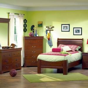Zielone ściany są znakomitym tłem dla brązowych mebli z drewna. Aranżację dopełnia dywan w kolorze ścian. Fot. Southore.ca.